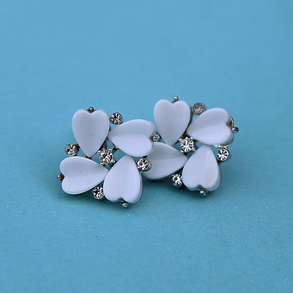 Heart Flower Rhinestone Screw-Back Earrings