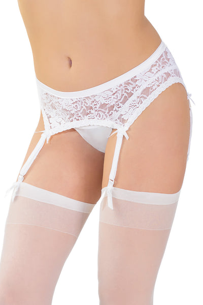 Coquette White Low-Waisted Garter Belt