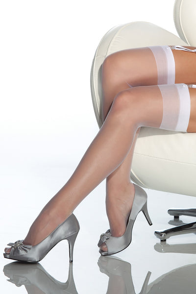 Coquette White Sheer Thigh High Stockings