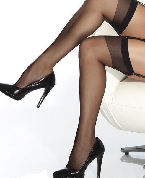 Coquette Black Sheer Thigh High Stockings - Heidi's Boutique
