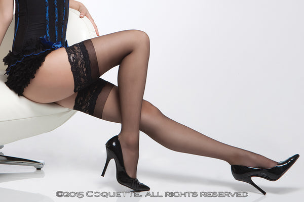 Coquette Black Lace Top Thigh Highs - Heidi's Boutique