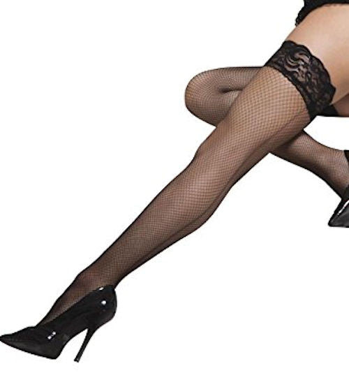 Coquette Black Fishnet Lace Top Thigh Highs