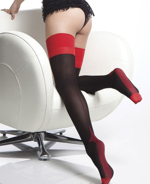 Coquette Black w/ Red Seam Stockings - Heidi's Boutique