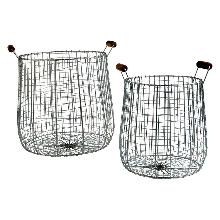 Tall Wire Farm Baskets (Set of 2)
