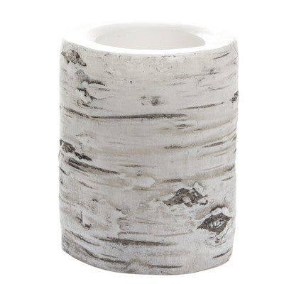 White Birch Look Flameless Real Wax LED Pillar Candle with Programmable Timer