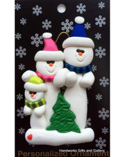 Ornament - Snowman with Tree Family Collection