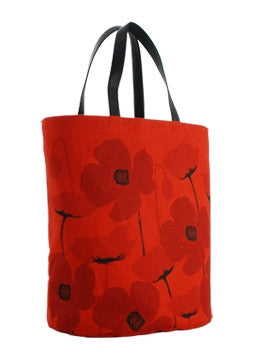 Poppy Red Bucket Tote Bag