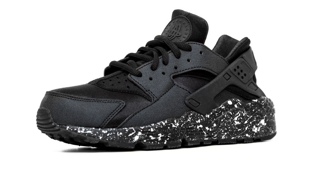 211278614566 Nike Air Huarache Run - Triple Black + Custom Pearl Paint Speckle ...