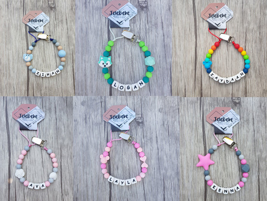 Personalised Silicone Baby Dummy Clip