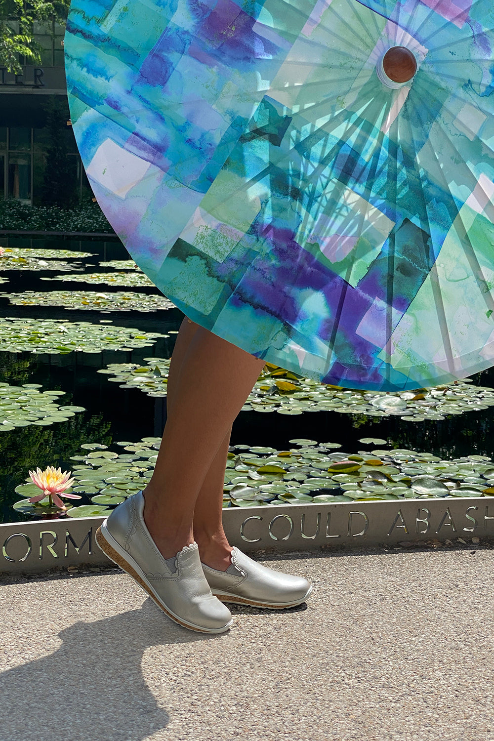 Walking Cradles Delta Sneaker in Soft Silver with Lily Lark Sun Parasol in Blue Squares