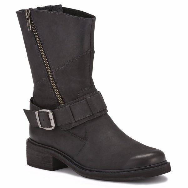 The Dallas is a lightweight and fashionable moto-styled bootie that is fashioned in distressed leather. The Dallas has two zippers on each side of the boot with gusset under them that allows you to wear them open or closed.