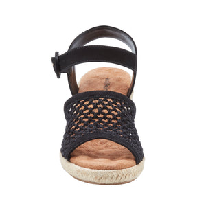 Avery Wedge Sandal: Black Nubuck and Black Crochet Fabric