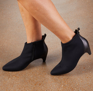 Billie Bootie: Black Stretch Fabric and Black Leather LIMITED STOCK