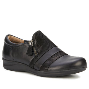 Camden Casual Slip-On: Black Leather and Patent Lizard Print
