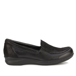 Clayton Casual Slip-On: Black Leather and Patent Lizard Print