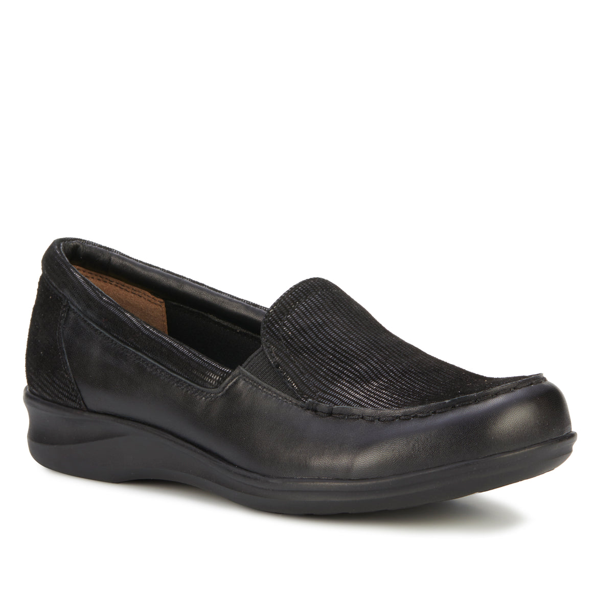 Clayton Casual Slip-On: Black Leather and Patent Lizard Print NEW