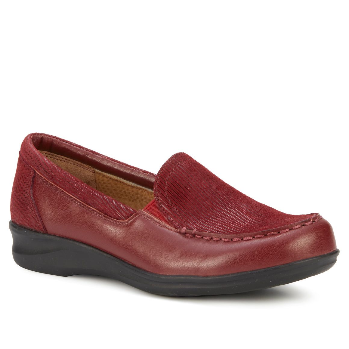 Clayton Casual Slip-On: Cranberry Leather and Patent Lizard Print NEW