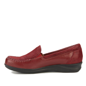 Clayton Casual Slip-On: Cranberry Leather and Patent Lizard Print