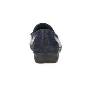 Clayton Casual Slip-On: Navy Leather and Patent Lizard Print NEW