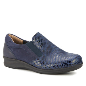 Cormick Casual Slip-On: Navy Patent Snake, Nubuck and Smooth Leather