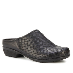 Emerson Clog: Black Woven Leather LIMITED STOCK