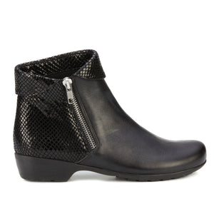 Emmy Bootie: Black Leather and Patent Snake Print NEW