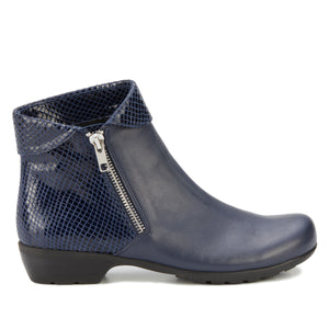 Emmy Bootie: Navy Leather and Patent Snake Print LIMITED STOCK