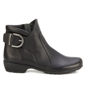 Ender Bootie: Black Tumbled Leather NEW