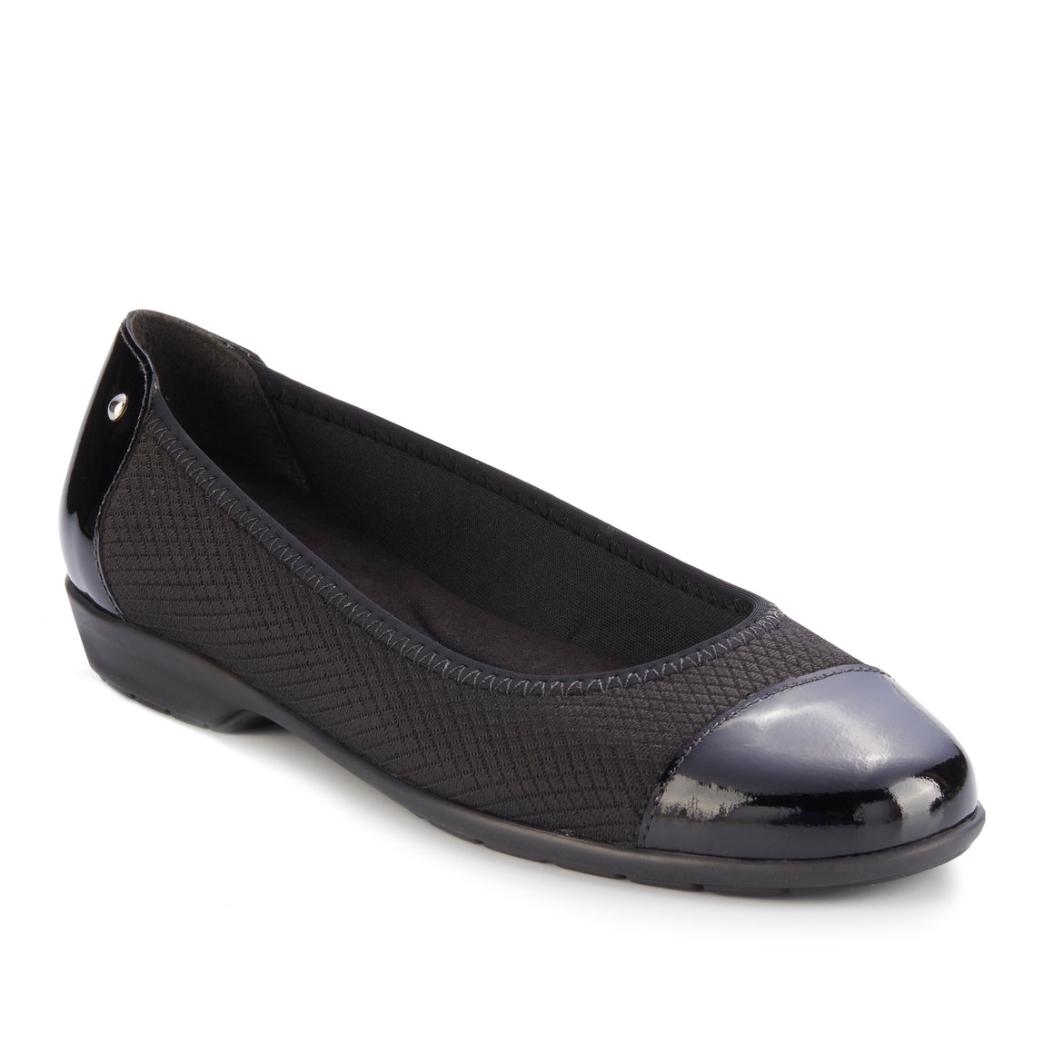 Felicity Flat: Black Stretch Fabric and Black Leather