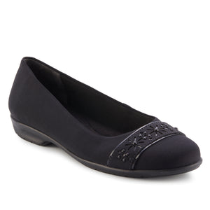 Francine Flat: Black Micro Fabric LIMITED STOCK