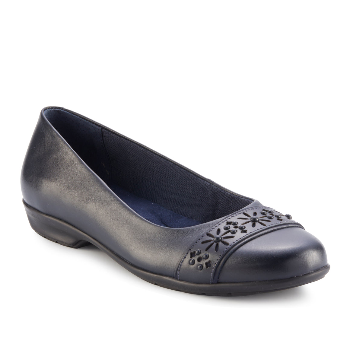 Francine Flat: Navy Leather
