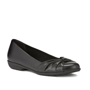 Image of the Fall. A comfortable black leather slip on shoe with a low heel.  Available in narrow width, wide width and extra wide widths.