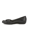 Side image of the Fall. A comfortable black leather slip on shoe with a low heel.  Available in narrow width, wide width and extra wide widths.