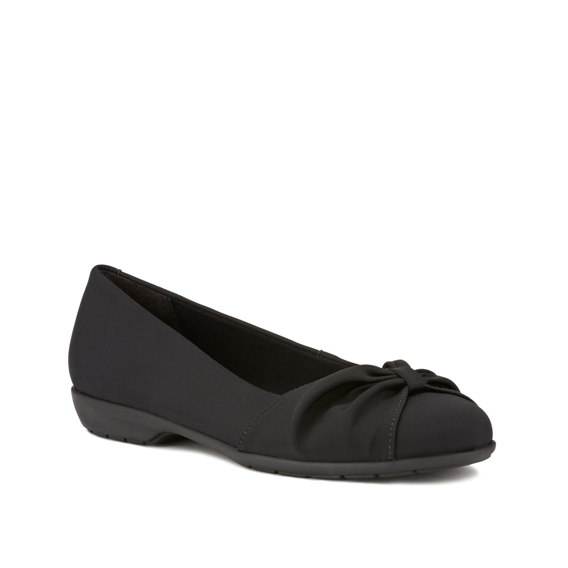 Image of the Fall. A comfortable black micro fabric slip on shoe with a low heel.  Available in narrow width, wide width and extra wide widths.