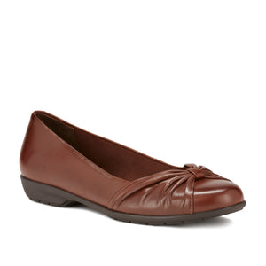 Image of the Fall. A comfortable luggage leather fabric slip on shoe with a low heel.  Available in narrow width, wide width and extra wide widths.