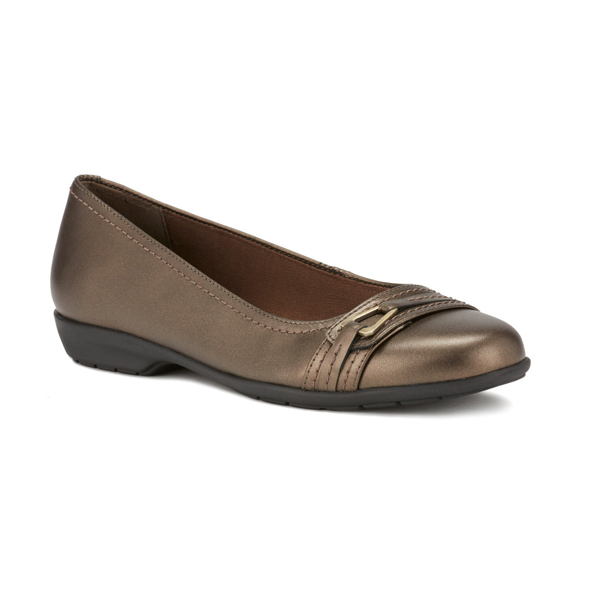 Image of the Flynn. A comfortable metallic bronze leather slip on shoe with a low heel and a small buckle detail on the toe.  Available in narrow width, wide width and extra wide widths.