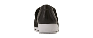 Fraley Casual Sneaker: Black Leather and Black Mesh Fabric