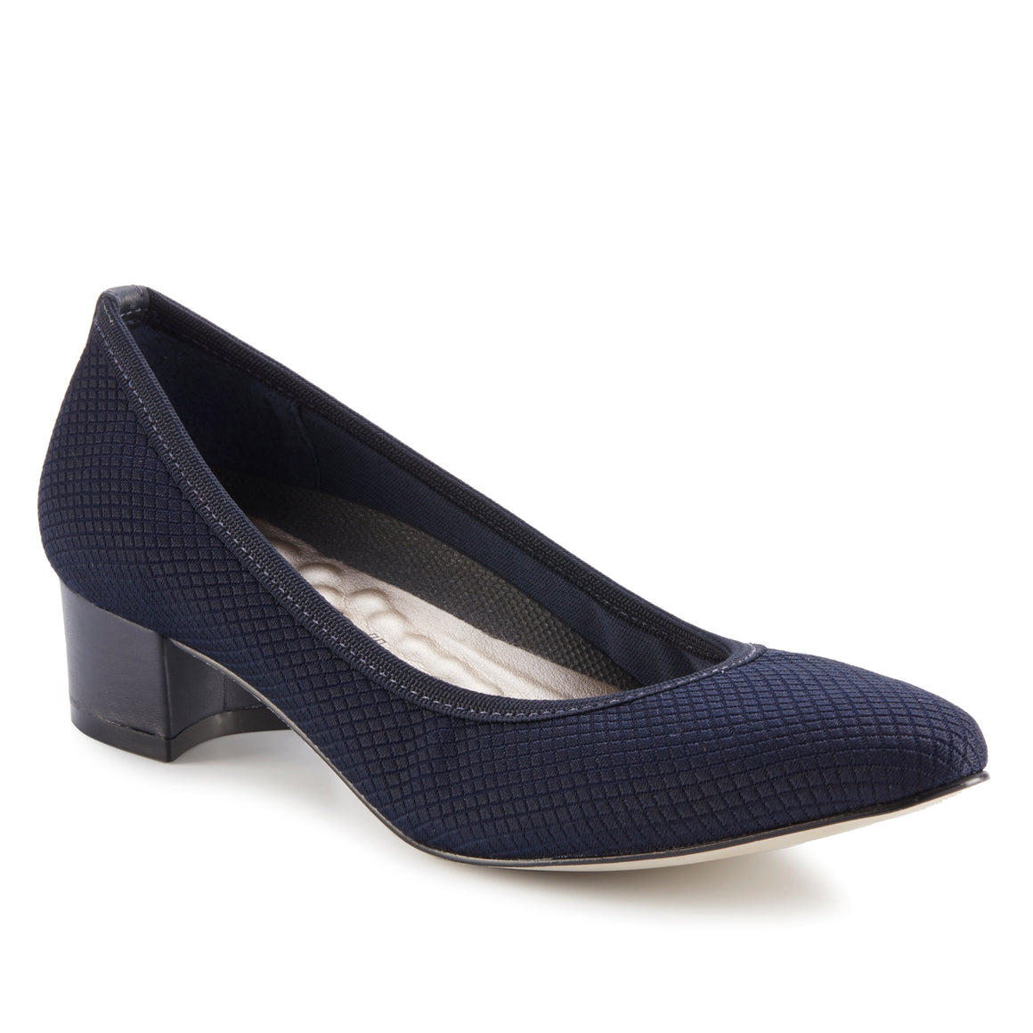 Hanna: Navy Textured Stretch Fabric/Navy Leather NEW