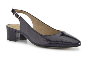 Hazel: Navy Tumbled Patent Leather