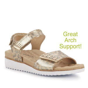Heather Soft Metallic Leopard Metro+ Arch Support Sandal