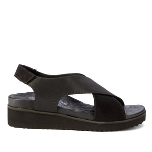 Henley Black Leather/Nubuck Metro+ Sandal with Arch Support