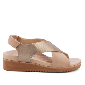 Henley Lt Taupe Leather/Nubuck Metro+ Sandal with Arch Support