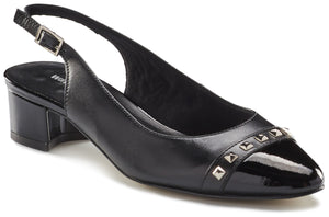 Hildee Sling-back Pump: Black Leather and Patent