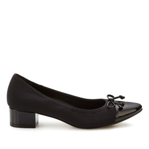 Hollis Pump: Black Micro Fabric and Patent Leather