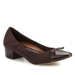 Hollis Pump: Brown Micro Fabric with Patent Leather