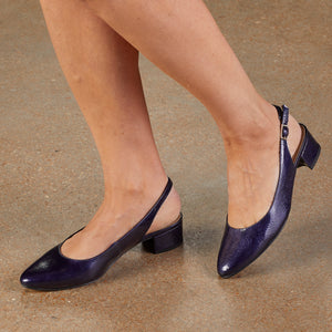 Hazel Sling-back Pump: Navy Tumbled Patent Leather