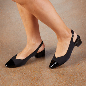 Helen Sling-back Pump: Black Micro Patent NEW