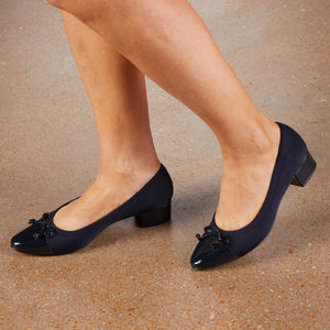 Hollis Pump: Navy Micro Fabric with Patent Leather NEW