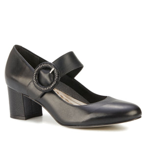 Jackie Pump: Black Leather with Snakeskin Print NEW