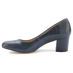 Jessica: Navy Patent Lizard Print Leather NEW